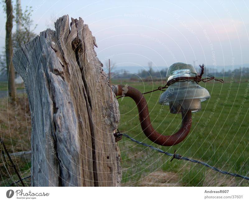 glass insulator Pasture fence Pole Field Rust
