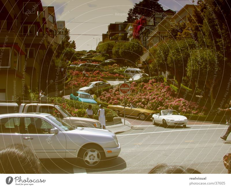 Old Tourist Attraction Yellowed Winding road Lombard st.