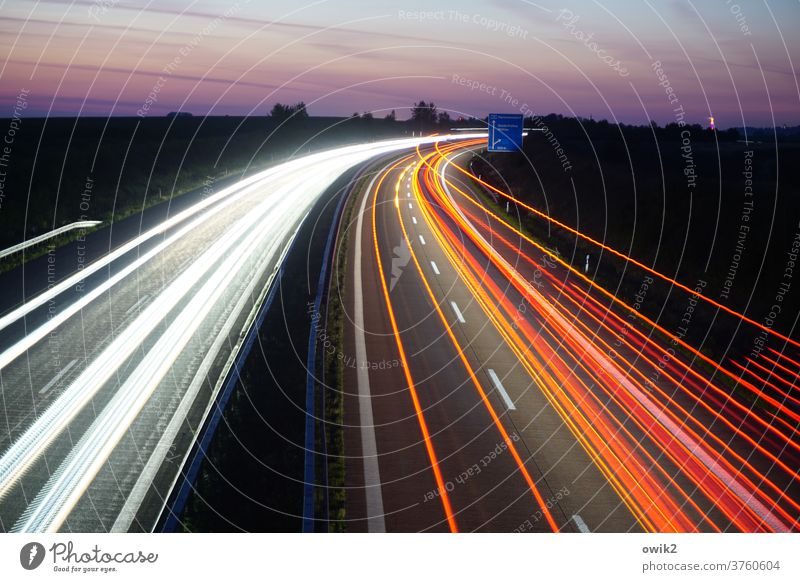 east curve Highway Curve Long exposure Band Rush hour Morning Dawn In transit Restless Many Motion blur Mobility Horizon motorway bridge Transport