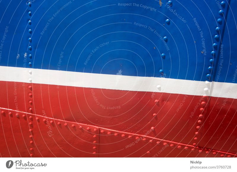 blue, white and red painted, riveted hull - detailed view (texture) Blue White Red lines areas ship Riveted Stud Stripe Metal textures Design France dutch