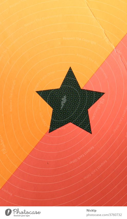 star with five corners backed with orange / yellow and red (diagonal) - halftone print photographed Stars Five Star Corners Red Yellow Orange Black Diagonal