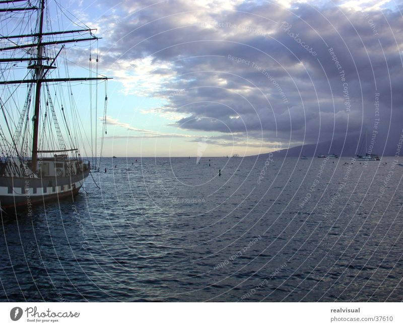 Ocean Vacation & Travel Clouds Horizon Blue sky Sailing ship Hawaii Maui