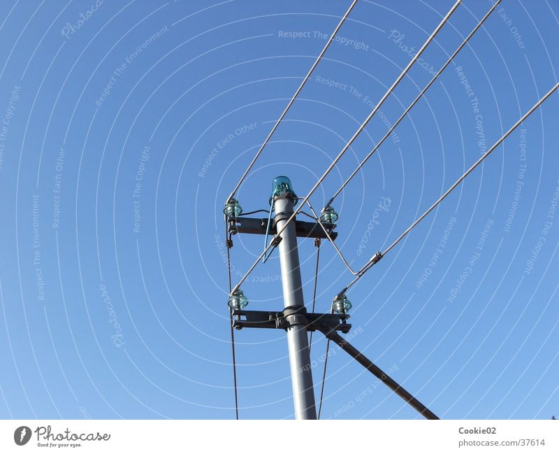 Industry Electricity Cable Clarity Beautiful weather Electricity pylon