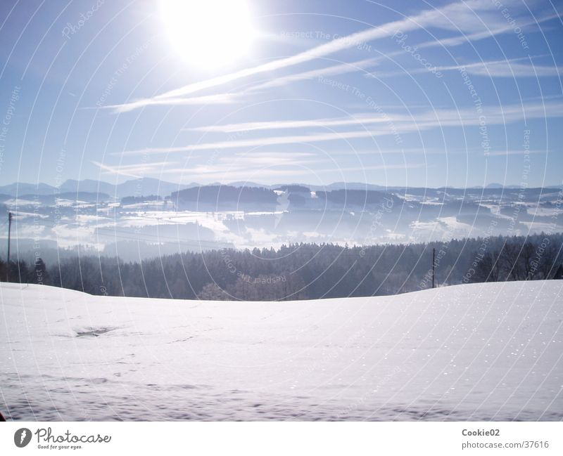 cold sun Horizon Panorama (View) Mountain Sun Alps Snow Large