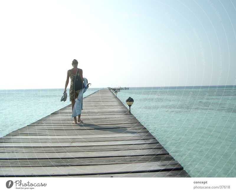 Woman Ocean Summer Beach Footbridge Maldives Africa