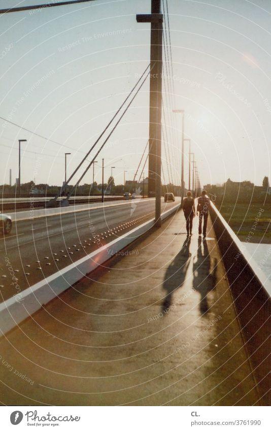 theodor-heuss bridge, düsseldorf Dusseldorf Rhine Couple car Town Architecture Sky Analog Transport Traffic infrastructure Going Street Road traffic