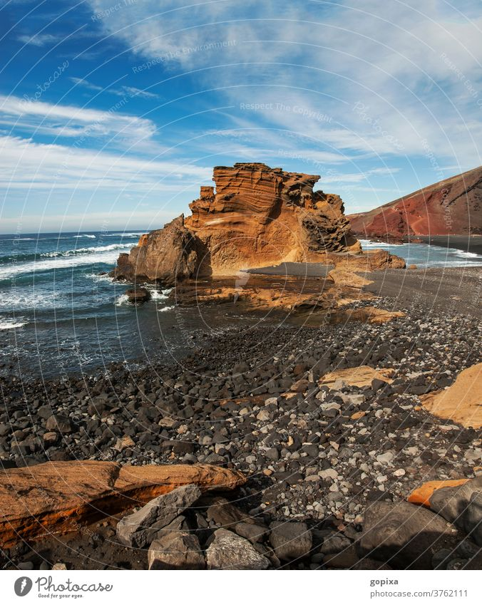 Rocky coast on Lanzarote Exterior shot Vacation & Travel Landscape Deserted Sky Canaries Ocean Spain Clouds Water Island Stone Tourism Nature Coast Waves Beach