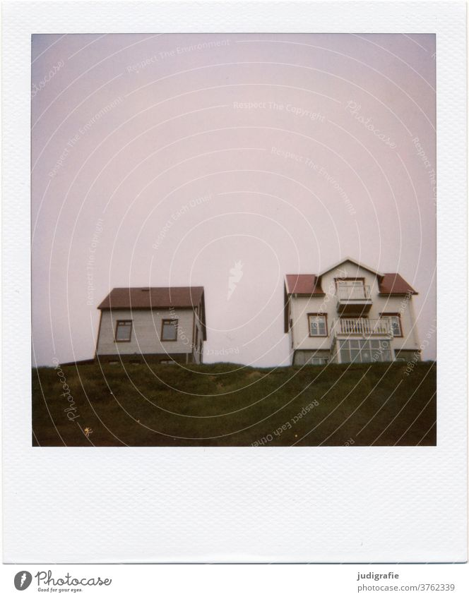 Two Icelandic houses on Polaroid House (Residential Structure) Landscape dwell Loneliness built Exterior shot Deserted Colour photo hut Meadow Roof hillock