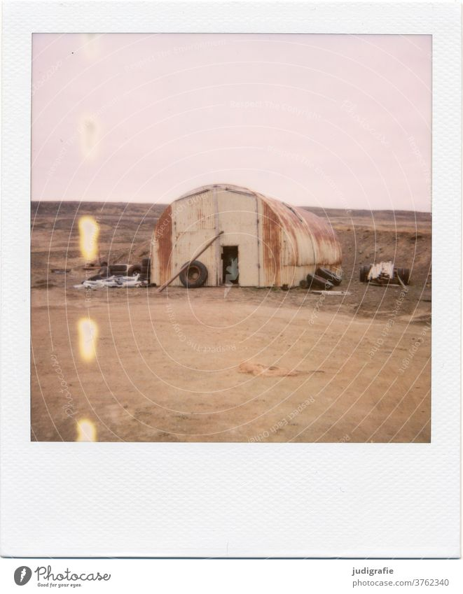 Icelandic barn on Polaroid House (Residential Structure) Landscape Loneliness built Exterior shot Deserted Colour photo hut Meadow Window Living or residing