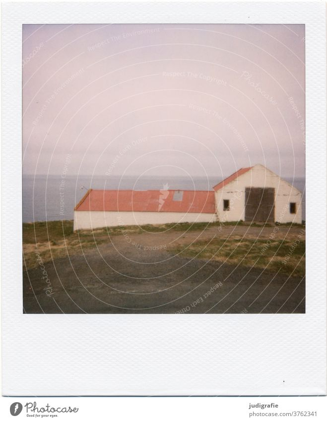 Polaroid of an Icelandic house House (Residential Structure) Landscape dwell Loneliness built Exterior shot Deserted Colour photo hut Meadow Fjord Barn Goal