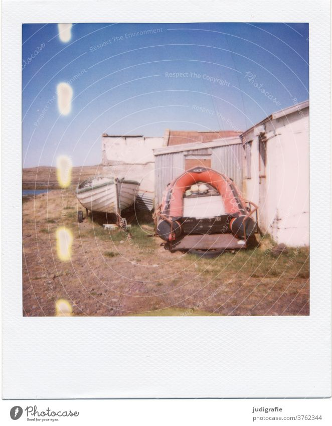 Boats and boathouses on Polaroid Iceland House (Residential Structure) Landscape Loneliness built Exterior shot Deserted Colour photo hut Living or residing