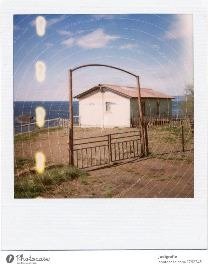 Polaroid of an Icelandic house House (Residential Structure) Landscape dwell Loneliness built Exterior shot Deserted Colour photo hut Meadow Fjord Entrance Goal