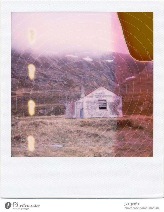 Polaroid of an Icelandic house House (Residential Structure) Landscape dwell Loneliness built Exterior shot Deserted Colour photo hut Meadow forsake sb./sth.
