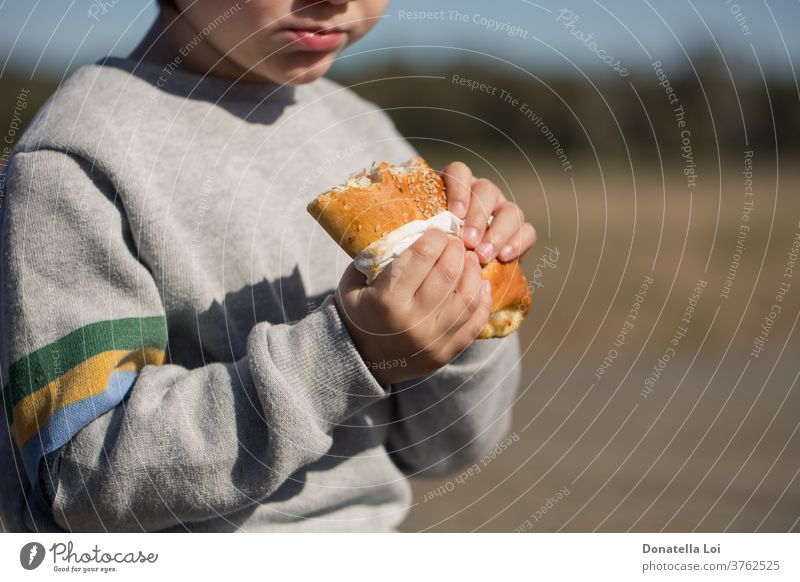 Child eats sandwich outdoor appetite appetizer boy bread breakfast calzone carbohydrate caucasian child closeup delicious eating fast-food fastfood holding junk