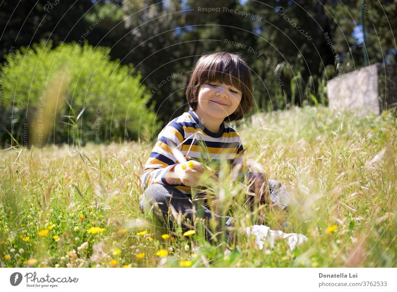 Child sitting on the field boy caucasian child childhood countryside day face flower flowers fun garden grass green happiness happy healthy holding holidays kid
