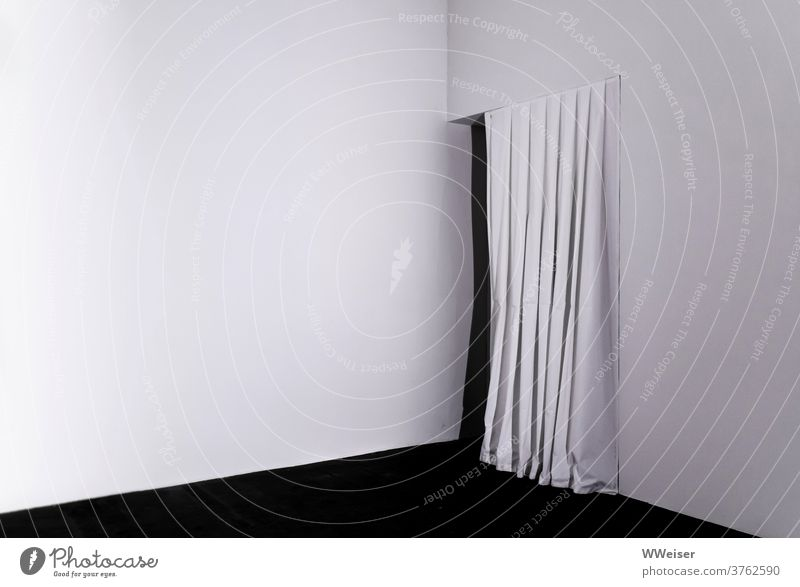 White room with white curtain and darkness behind black-and-white Room Corner Drape Way out Entrance mystery opening door Passage Minimalistic Tension