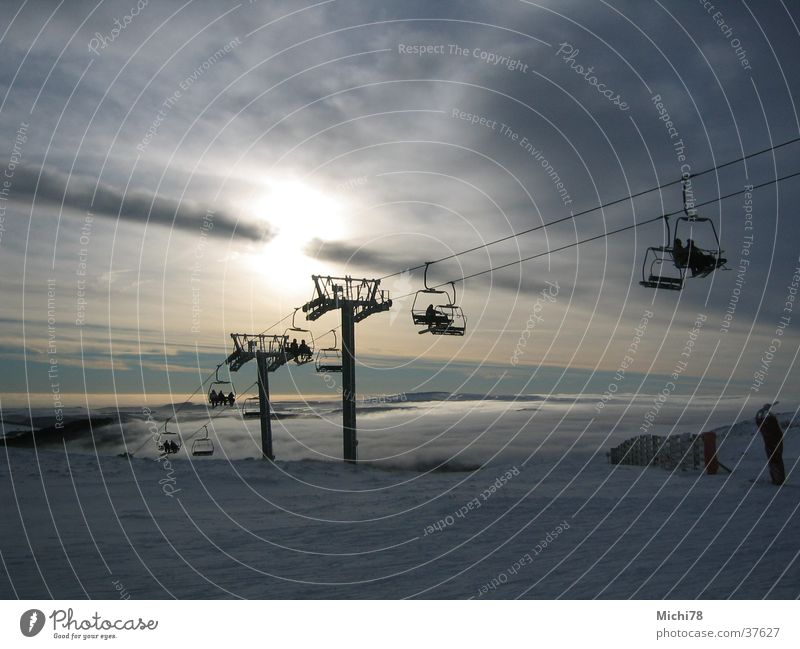 chair lift Skiing Sunrise Clouds Back-light Sports Sessl lift Snow