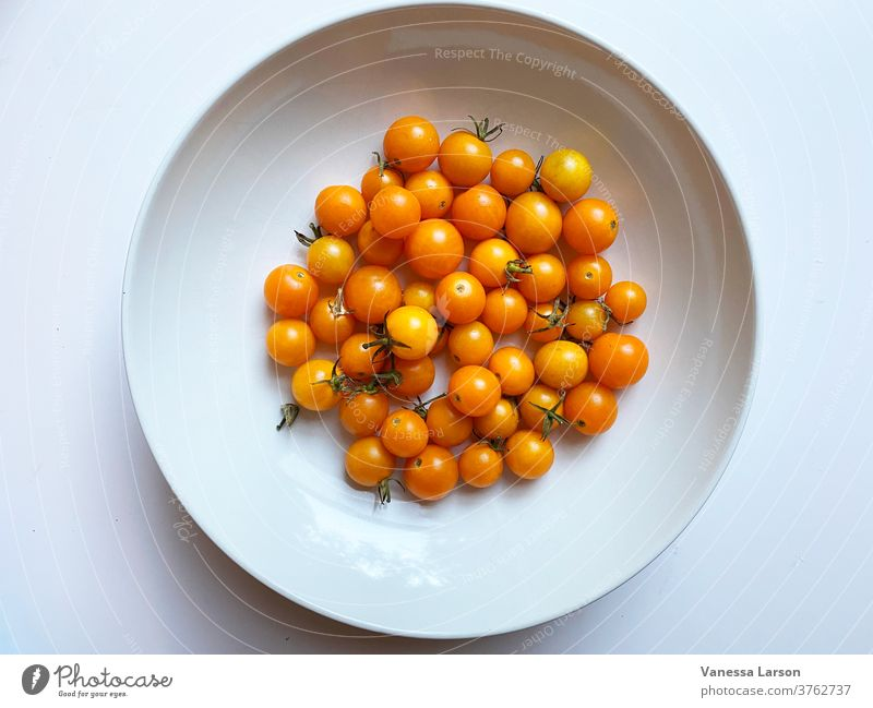 Sungold Cherry Tomatoes in White Bowl cherry tomatoes summer food Ingredients Close-up Vegetable Raw Fresh