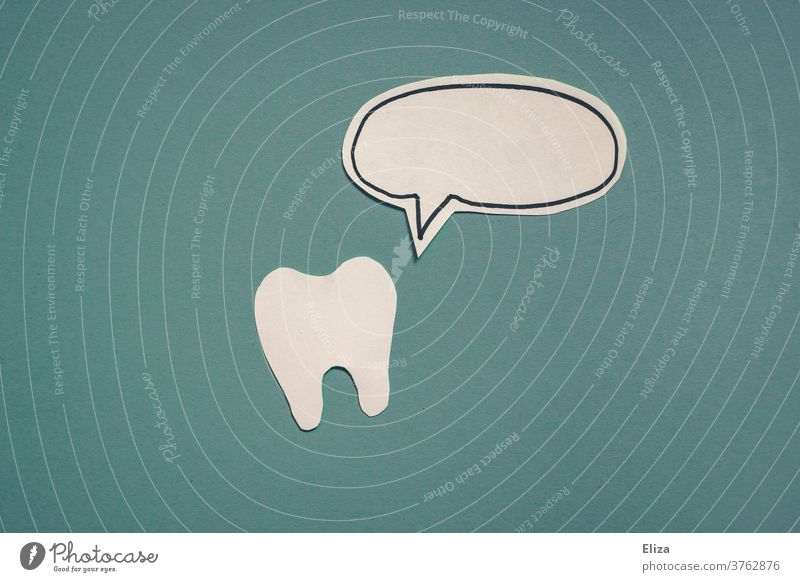 A tooth and a speech bubble of paper on a blue background Speech bubble Dentist dental hygiene Dentistry Dental Teeth Brushing your teeth communication eloquent