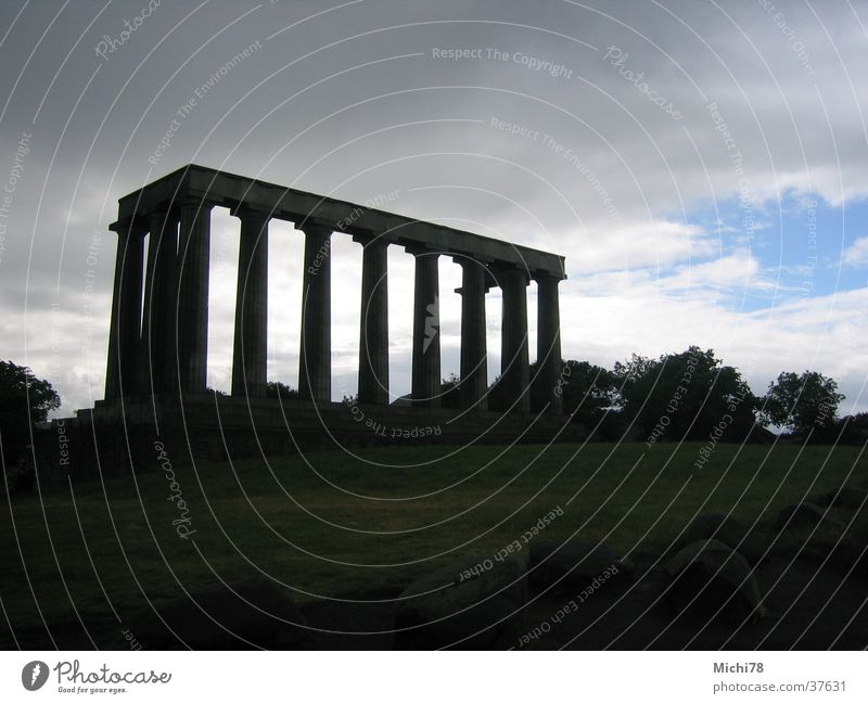 Temple in Edinburgh Ruin Back-light Scotland Greece Leisure and hobbies Column Ancient