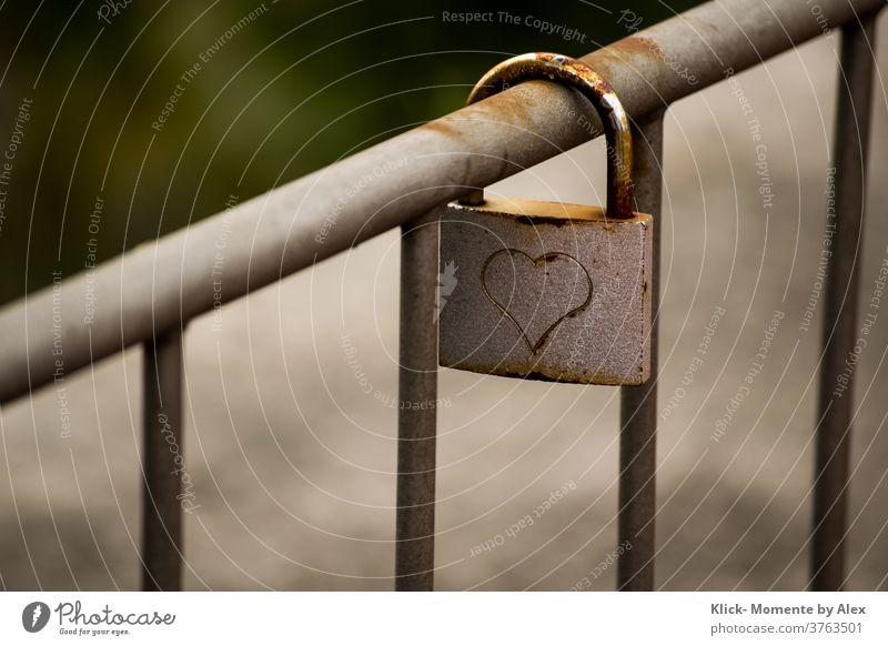 Love lock on railing Lock Heart Handrail infinitely Romance Sign Emotions Loyalty luck Infatuation Rust forever