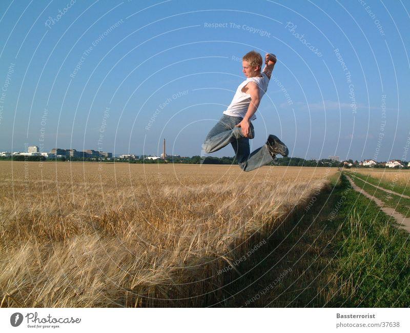 fly to the sun Summer Field Jump Man Sun