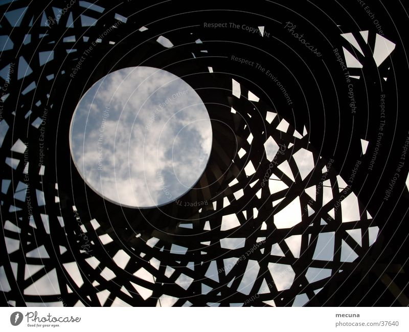 Metal construction in the five courtyards of Munich Metal ball Craft (trade) metal object stainless steel ball spiral ball Moon Sky Graffiti steel plastic