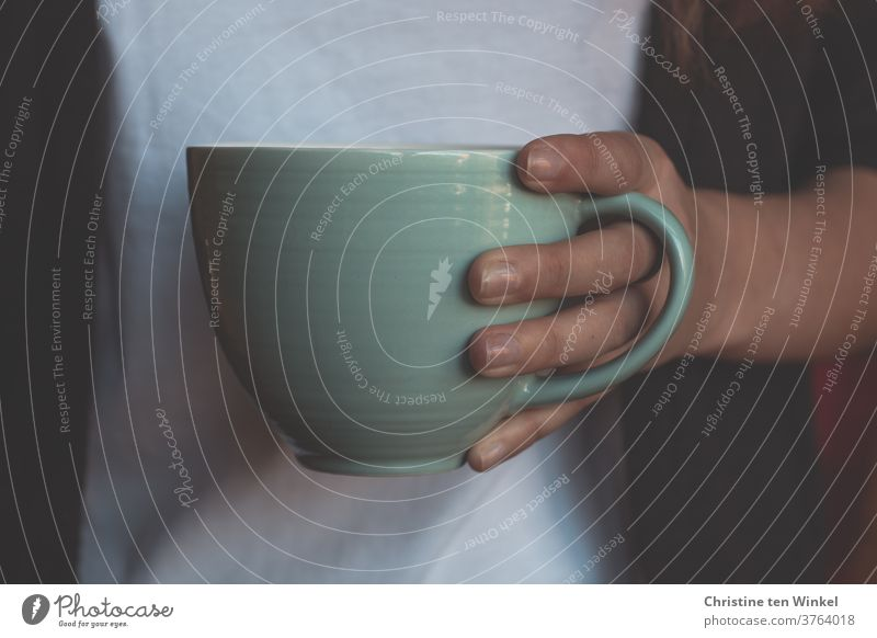 Tea mug or coffee cup held by the hand of a young woman. Close-up with natural window light teacups Tea cup Coffee mug Hot drink Coffee cup stop Retentive
