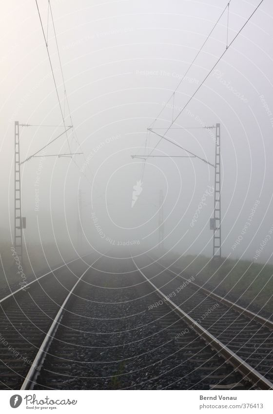 Journey into the unknown Traffic infrastructure Train travel Railroad tracks Overhead line Stone Metal Steel Target Driving Vacation & Travel Looking Blue