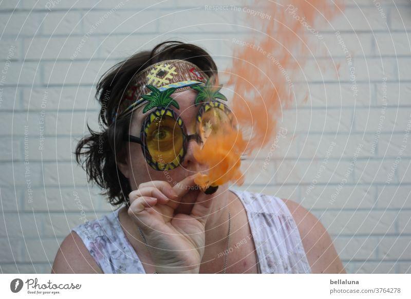 I smoke a smoke bomb in orange :-D Hippie Summer Joy portrait Exterior shot Woman Adults Sunglasses Human being Colour photo Feminine No smoking Smoky Smoking