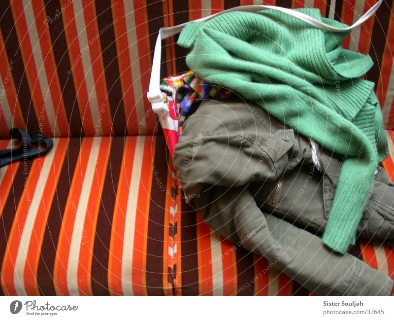 mating season Clothing Multicoloured Jacket Bag Cardigan Stripe Furniture Symbiosis Things Bench Colour Modern Creativity Living or residing