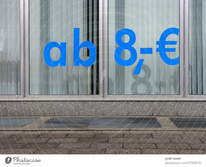 essential for life from 8, € Shop window Signs and labeling Offer Clue Shadow play Sidewalk Slat blinds Typography Competent Lettering Word Euro Gloomy Blue