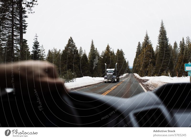 Traveler driving car on country road through winter forest drive auto trip nature travel roadway automobile coniferous usa united states america truck roadside