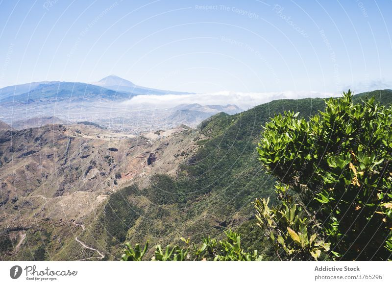 Picturesque landscape of mountains in summer breathtaking highland scenery green range blue sky nature rocky tenerife spain canary island scenic picturesque