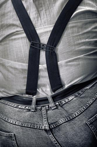new trends on the obesity scale Overweight Suspenders Belt Rear view Back obese Fat jeans Obesity Pants Shirt Human being person Man B/W too tight corpulent