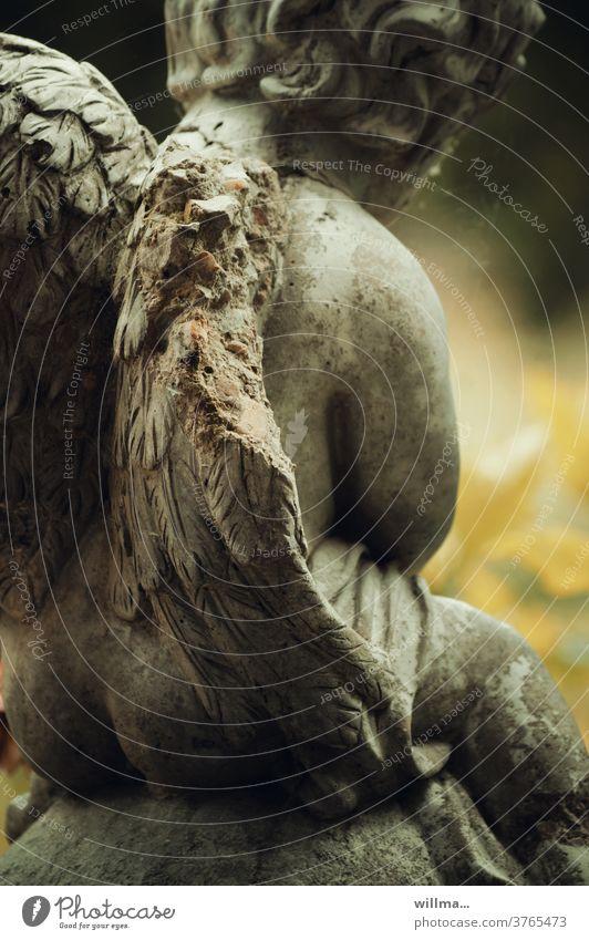 broken wings - life & agility Angel Grand piano Broken shattered sad Stone statue Figure symbol weaker Angel figure Putto