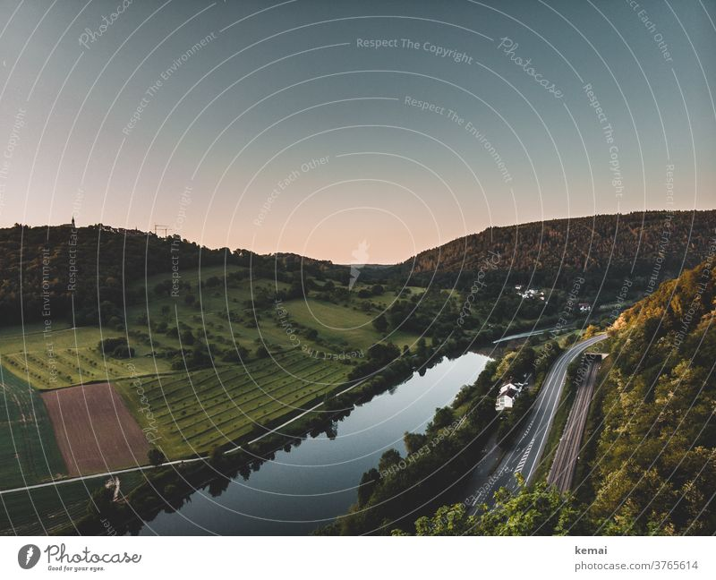 Water, road, railway tracks River Waterway Nature Landscape in the morning Street rails Transport Sky clear Green Hill Empty Deserted reflection tranquillity