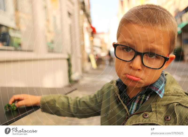 boy wearing glasees looking upset Crisis Abandoned Left conflict management tantrum Freedom of expression real people Human rights Humanity Inhibition Concern