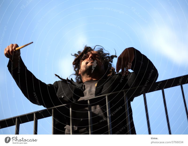 The conductor, piano Handrail Man Baton Wild Tails Sky Clouds Dark-haired Freak engaged Passion Conductor dirigat posture devotion emotion Worm's-eye view