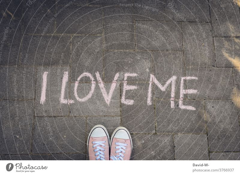 I LOVE ME - to love yourself narcissistic Self-confidence Young woman leap I love me Love Chalk Ground Infatuation Selfishness Psychology self-respect