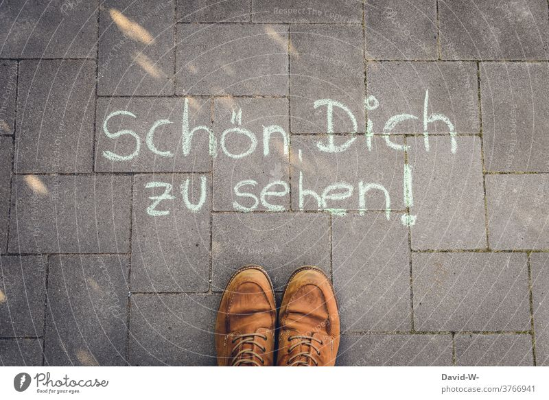 Good to see you - welcome Welcome to the Hospitality Man Human being leap kind Footwear Chalk writing Hello Communicate