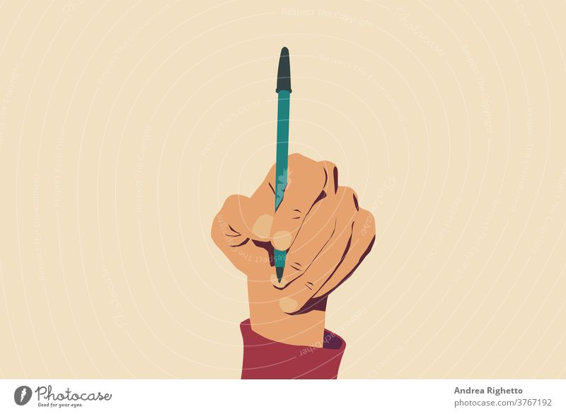 Concept of freedom of speech and information, stop censorship. Hand holding an open pen. Light yellow background. Vector Illustration concept press censored