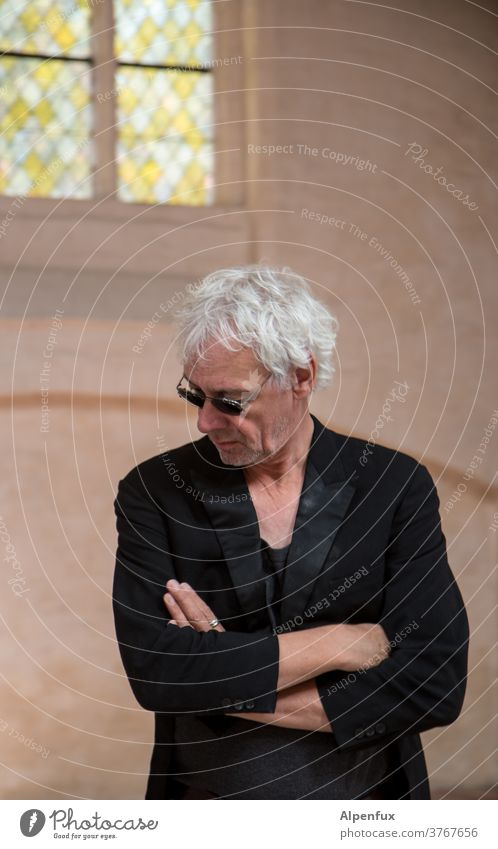 no, I'm not preaching today! Man Tails portrait Colour photo Masculine Cool cool guy Model Gray-haired good-looking Style more adult person Self-confident