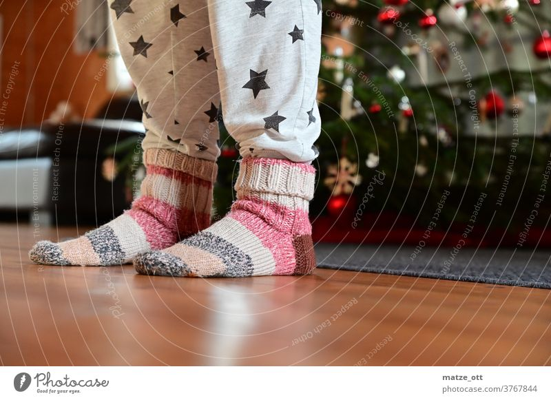 Christmas time and dirty outfit with wool socks Christmas & Advent Wool socks Christmas tree advent season stars Living room Indoor Warmth Winter floor wood