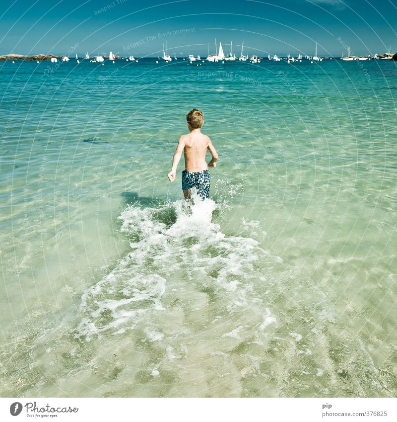 cooling down Human being Boy (child) Infancy Youth (Young adults) Body 1 Nature Water Summer Beautiful weather Warmth Coast Ocean Navigation Sailboat Harbour