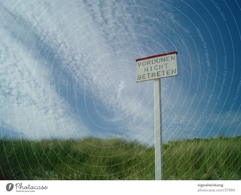 Beach Clouds Beach dune North Sea Prohibition sign
