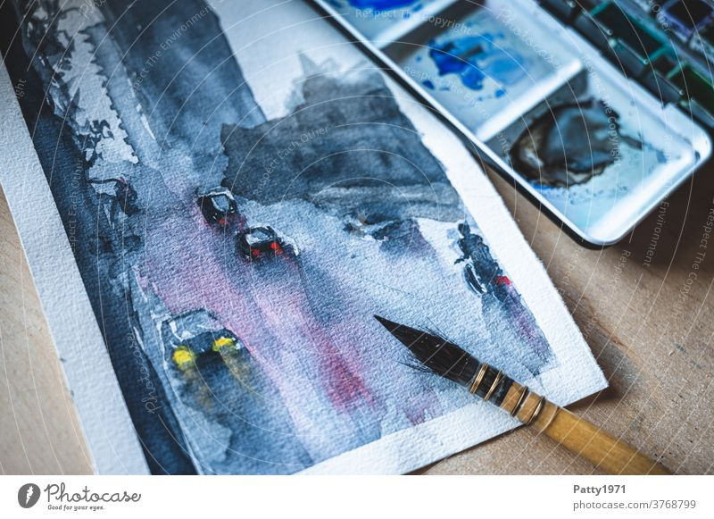 Watercolor. Street scene in the rain Watercolors Skyline Rain Wet Paintbrush hobby painting Art Creativity Leisure and hobbies Paintbox Close-up Multicoloured