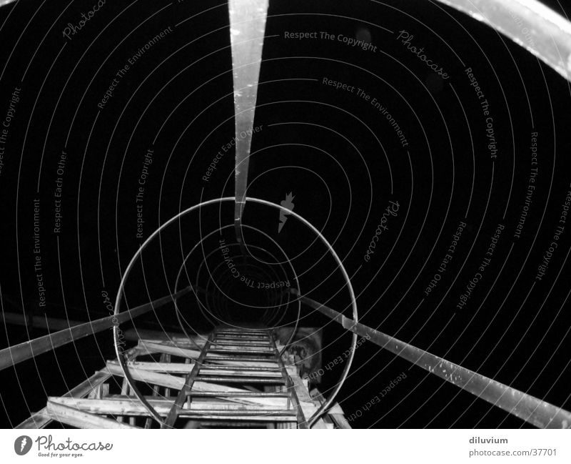 darkness Night Industry Structures and shapes Stair construction Black & white photo Architecture