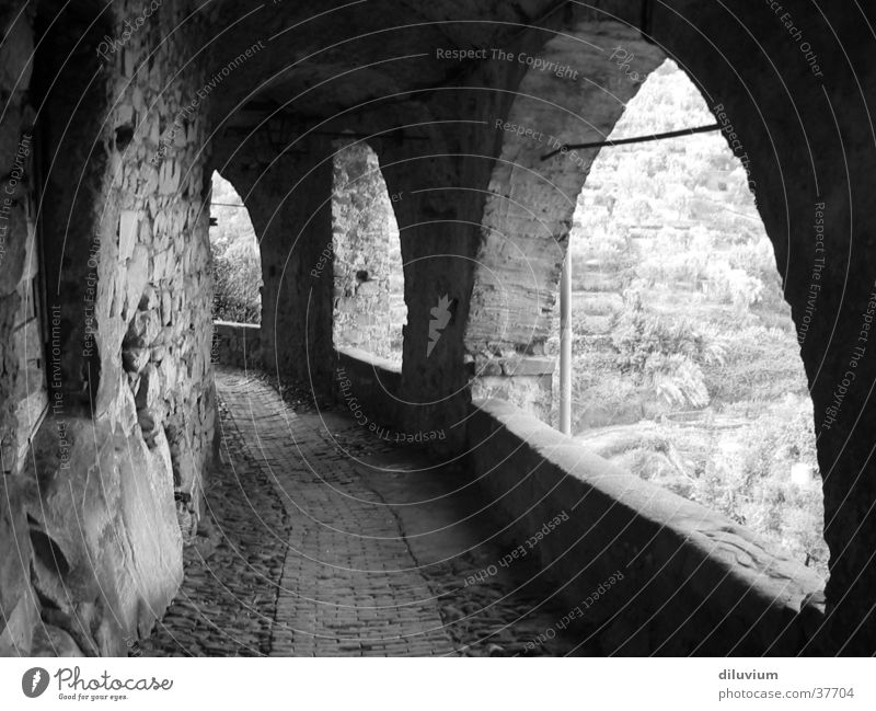 archaic Arcade Light Village Italy Transport Black & white photo Arch Old Corridor