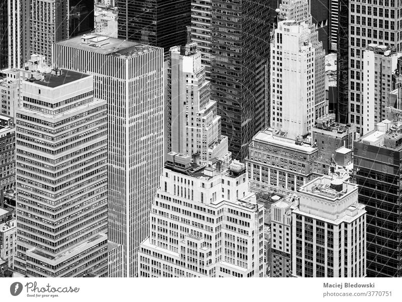 Black and white aerial view of New York City diverse architecture, USA. city new york black and white manhattan building tower office america urban B&W wall